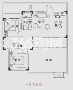锦和云水江南105.32方户型图(一层)