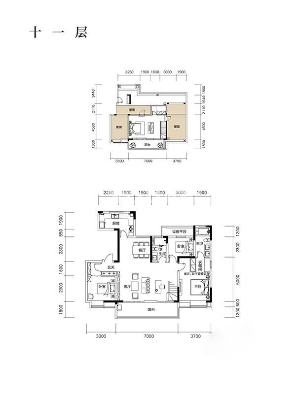 望江台182㎡Y29户型之十一层房型