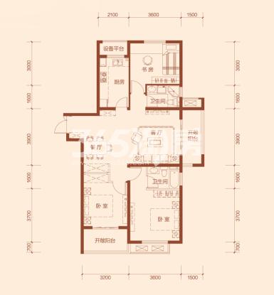 G3户型三室两厅两卫建筑面积约120.61㎡