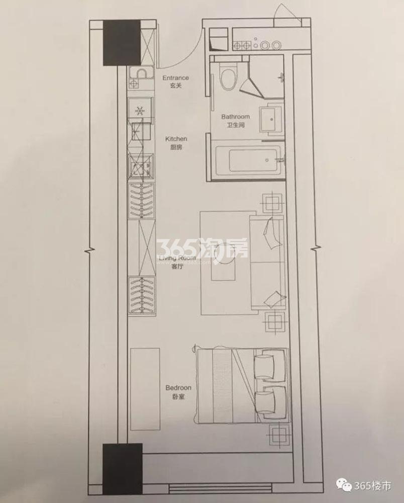 绿地紫金中心公寓43.11㎡户型图