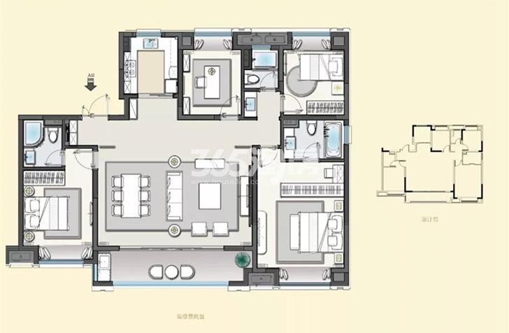 建发央誉160㎡四室两厅三卫户型