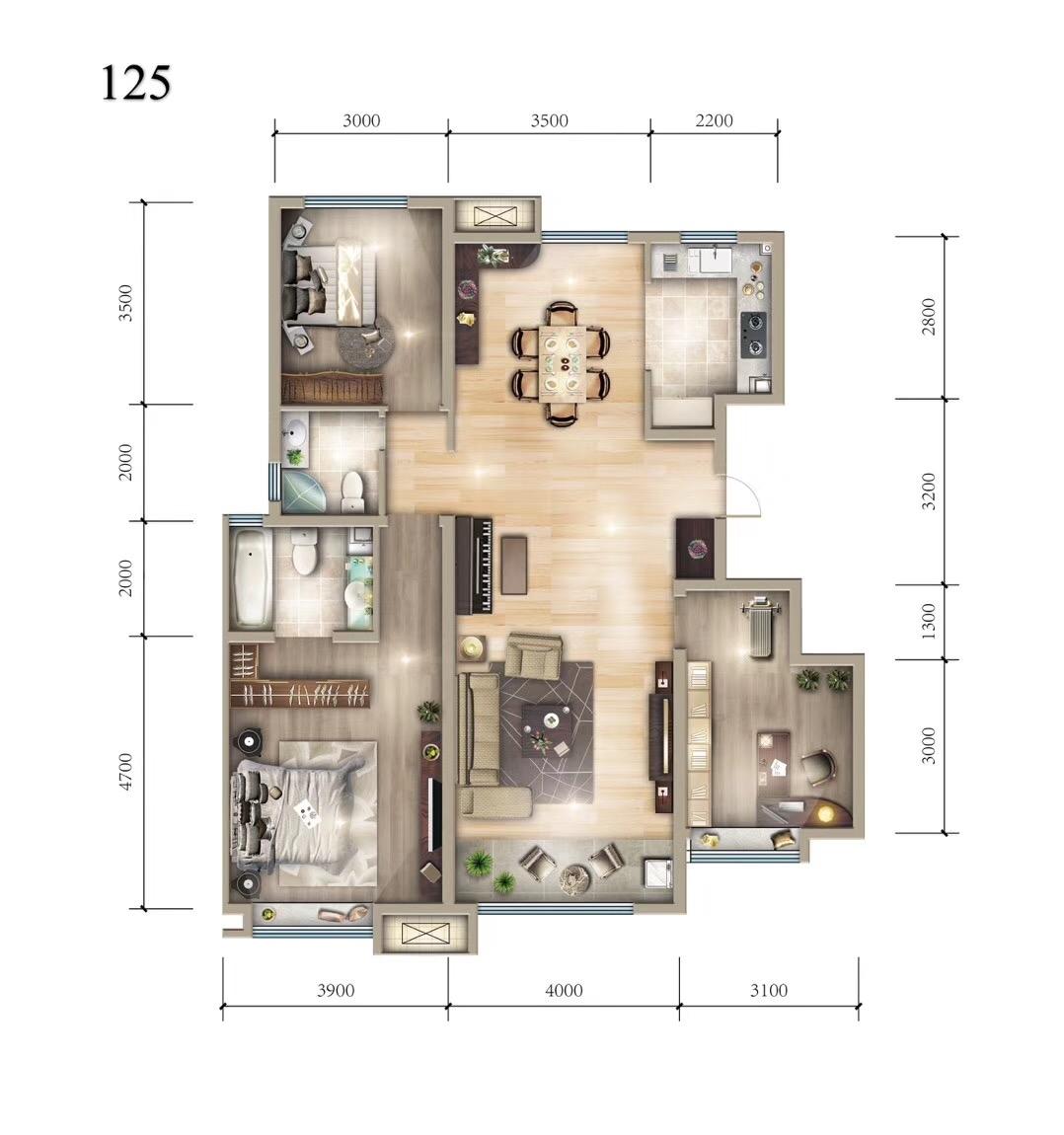 125平米三居