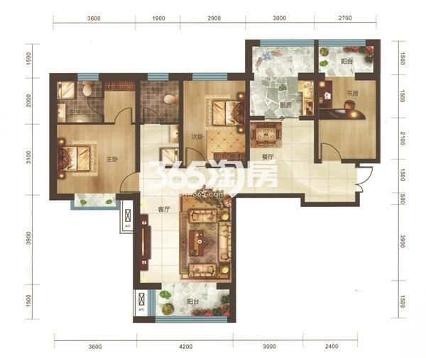 A1户型 三房两厅两卫 面积138.32㎡