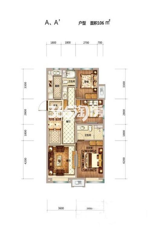 106平米三室