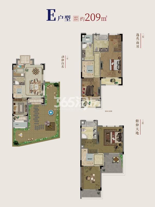 别墅E户型地上1~3层