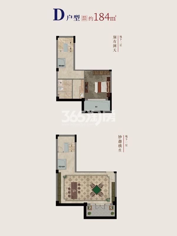 别墅D户型地下1~2层