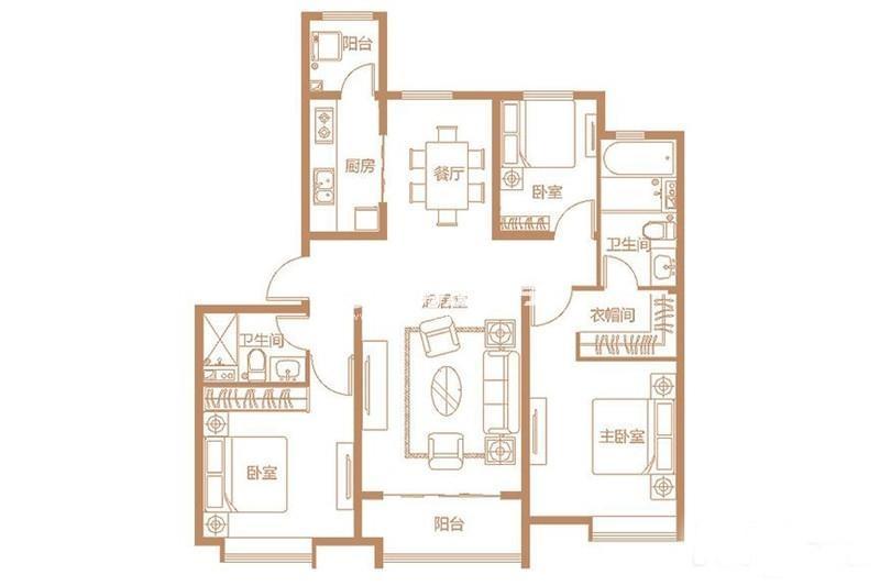 E户型 3室2厅1厨2卫 140平米