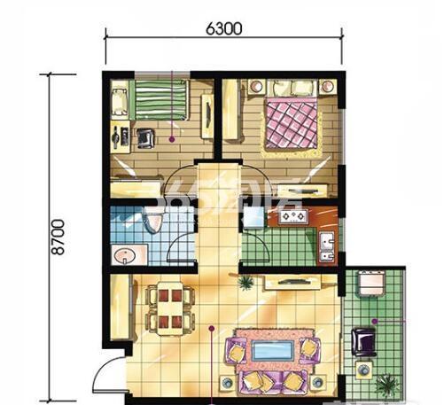 恒天第五座C户型2室2厅1卫建筑面积约75.25平米
