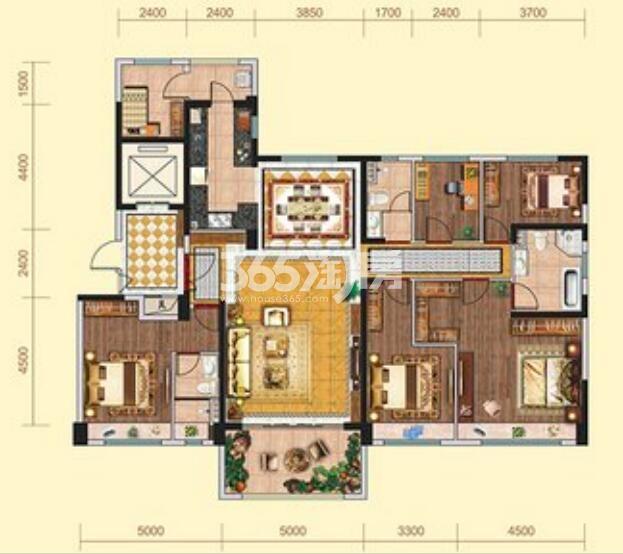 碧桂园凤凰城5室2厅1厨3卫190㎡户型图