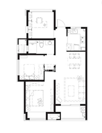 万科城户型图高层标准层浪漫情园户型3室2厅1卫93平