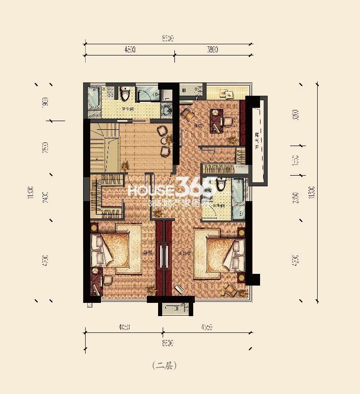 云邸跃层二层215方户型图