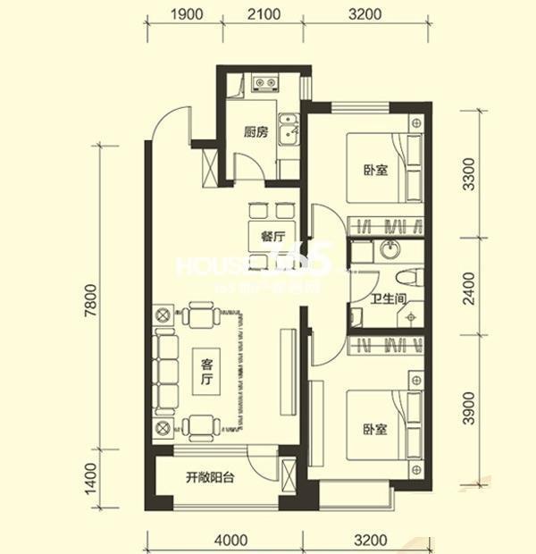 万寿里2室2厅1卫92㎡