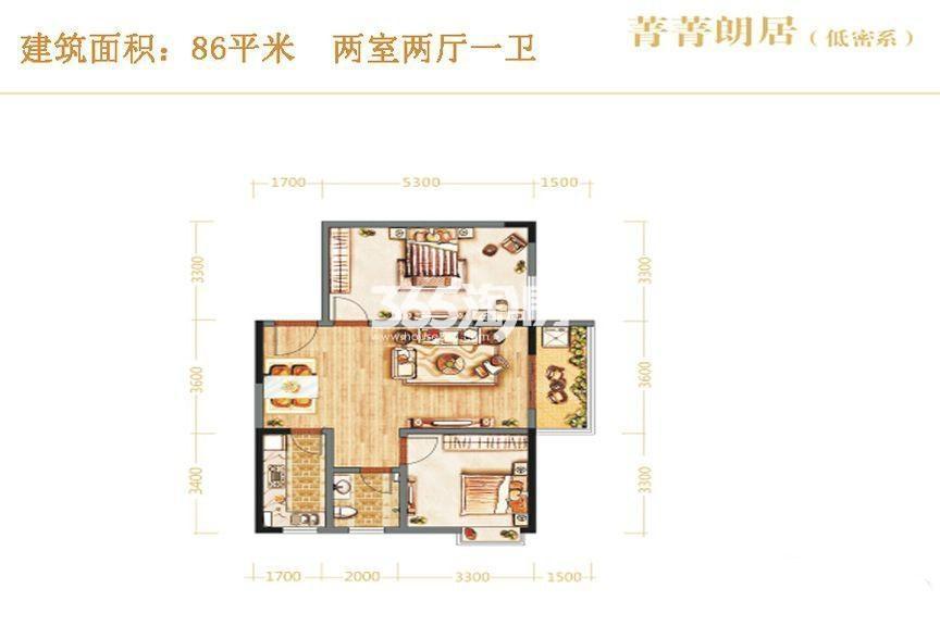 昆明时光菁菁朗居低密系两室两厅一卫86平米