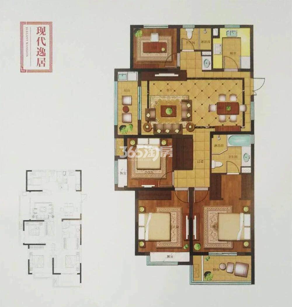 中铁九逸12、17-19号楼139方户型图