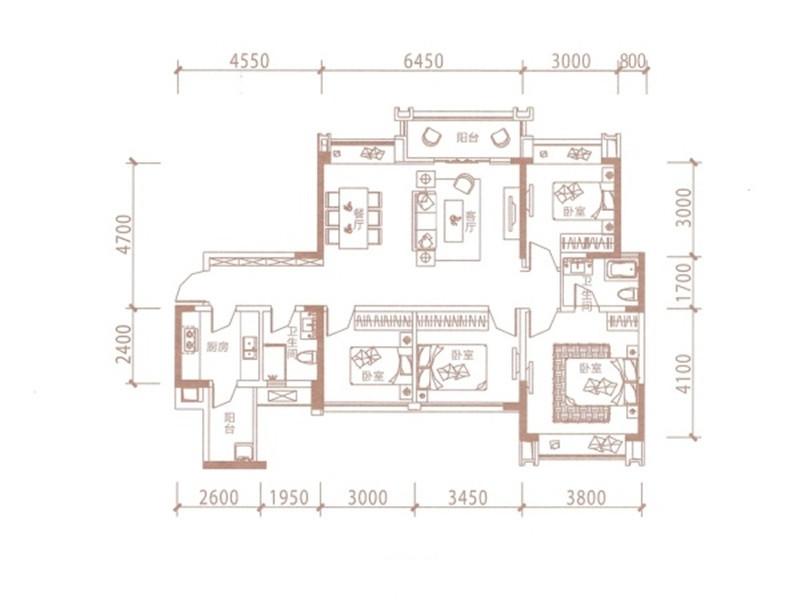 A2户型  4室2厅2卫 118.86平米