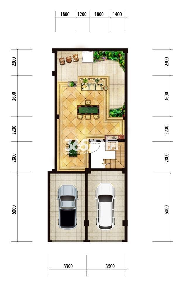 台北上上城花园洋房99㎡负一楼户型图