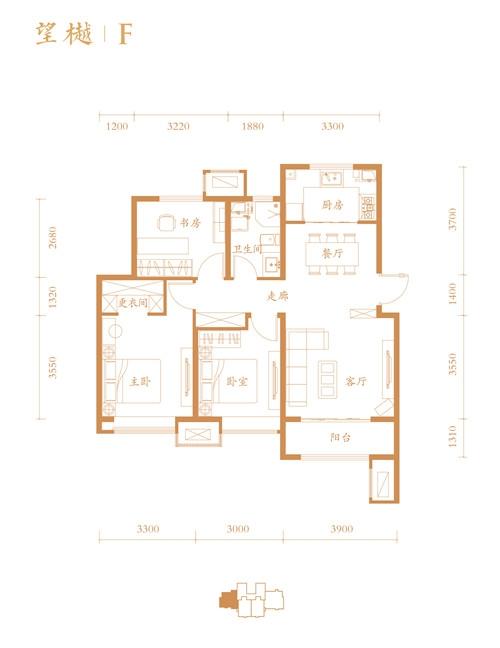 高层F户型 3室2厅1卫 110平米