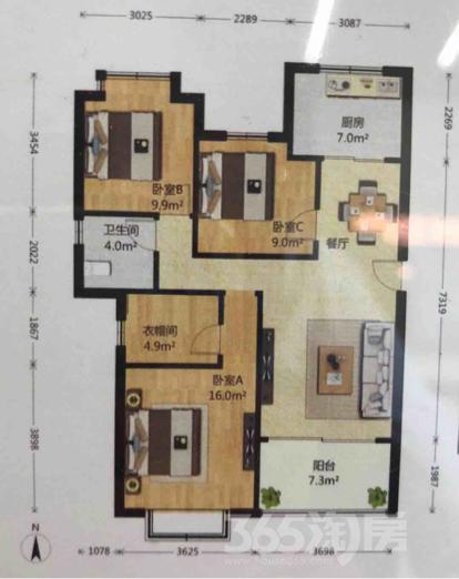 宏图上水云锦3室2厅1卫115平米整租豪华装