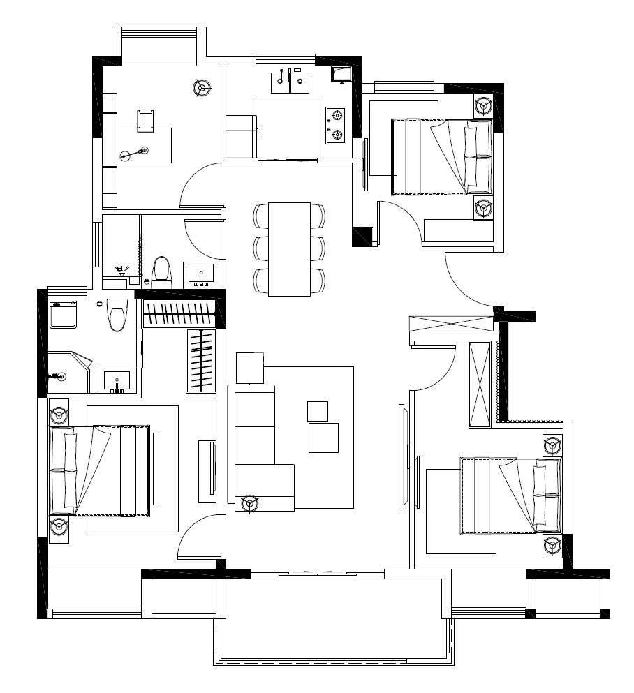 华润江南府B地块洋房115平户型图