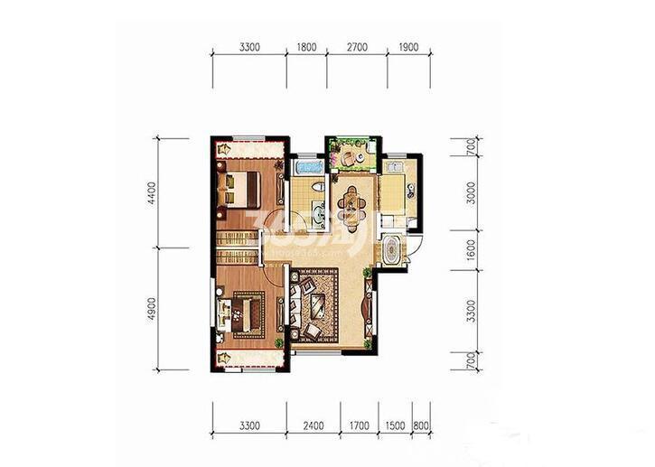 德杰德裕天下H1户型2室2厅1卫1厨83.16㎡