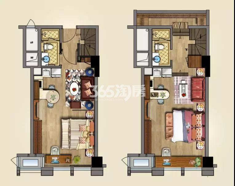 金轮双子星国际公寓B户型48/52/60㎡