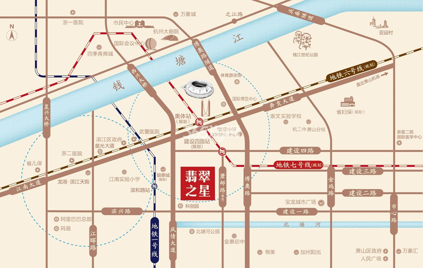 时代滨江翡翠之星交通图