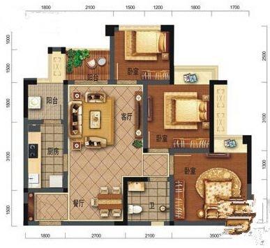 B1户型3室2厅1卫77㎡