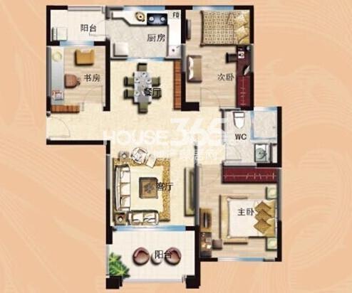 无锡碧桂园120平法式洋房户型图