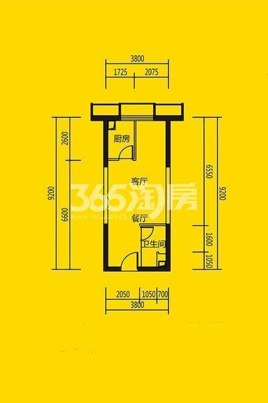恒大都市广场公寓11#、10#楼1室1厅1卫1厨47平