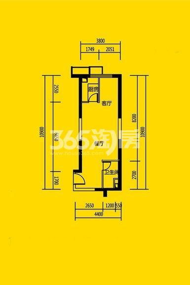 恒大都市广场公寓11#、10#楼1室1厅1卫1厨57平