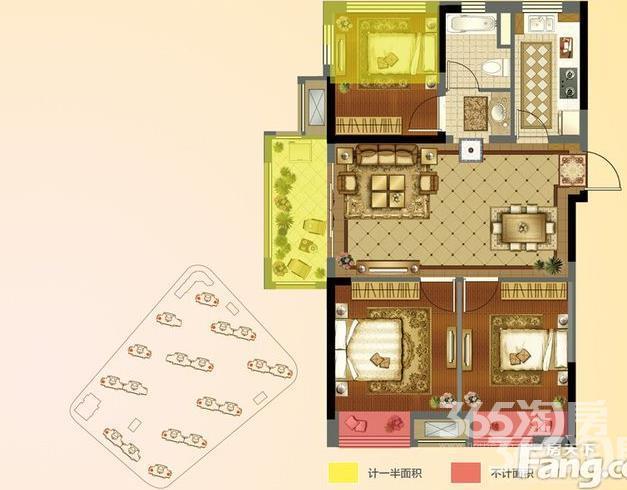 明发浦泰梦幻家3室2厅1卫85平方产权房毛坯