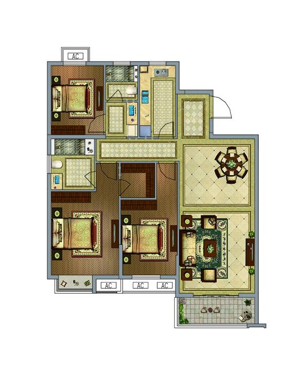 户型图 A户型  3室2厅2卫 约132.25平米