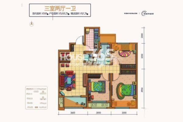 天朗蔚蓝东庭6、8号楼D户型3室2厅1卫1厨100平米