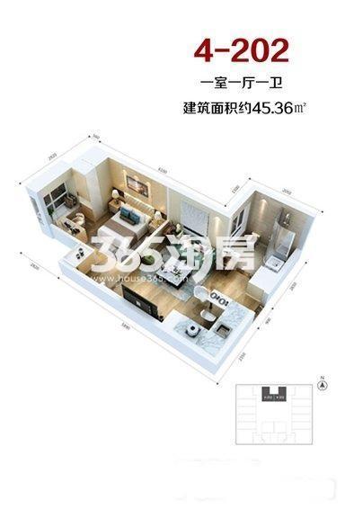 当代满堂悦MOMΛ1室1厅1厨1卫45.36㎡