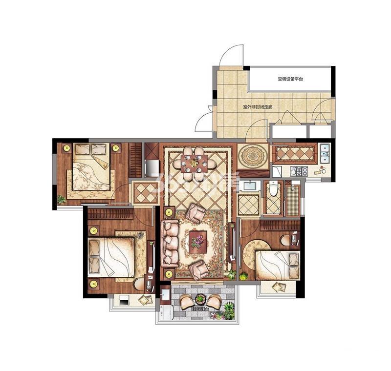 3室2厅1卫 12#103㎡
