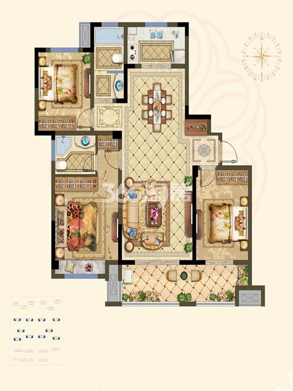 A中高层户型 3室2厅 126㎡