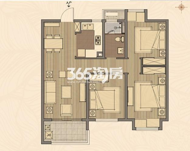 高层7#E户型 3室2厅1卫1厨