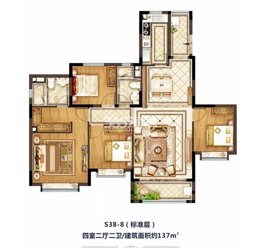 西安恒大文化旅游城137㎡四室两厅一厨二卫