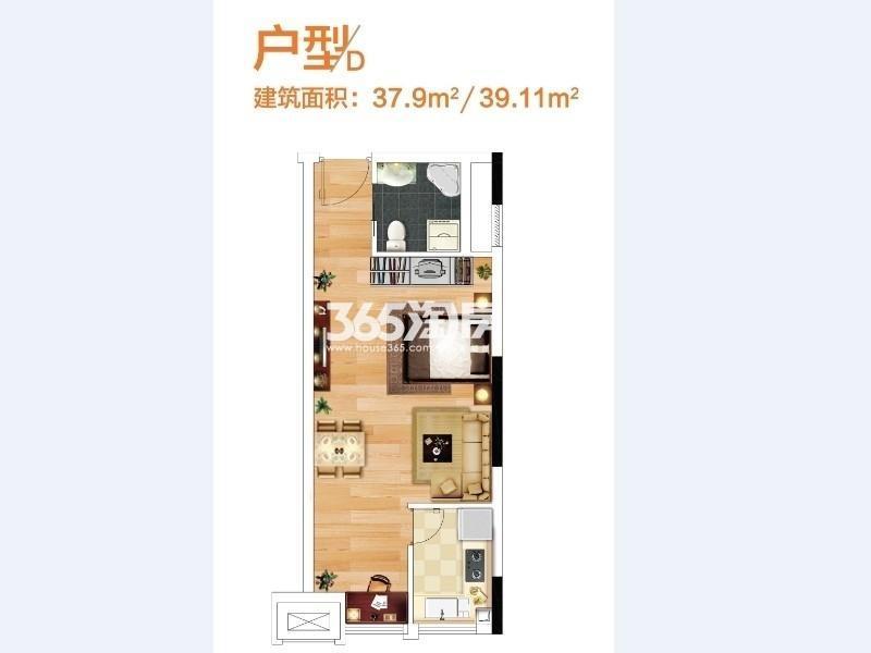奥特莱斯V公寓1室1厅1卫1厨37.00㎡B12栋和B13A栋D户型