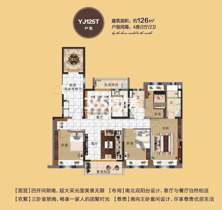 碧桂园奥能罗马世纪城YJ125T户型图