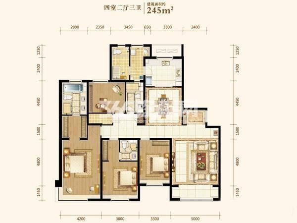 245平户型 4室2厅2卫1厨 245㎡