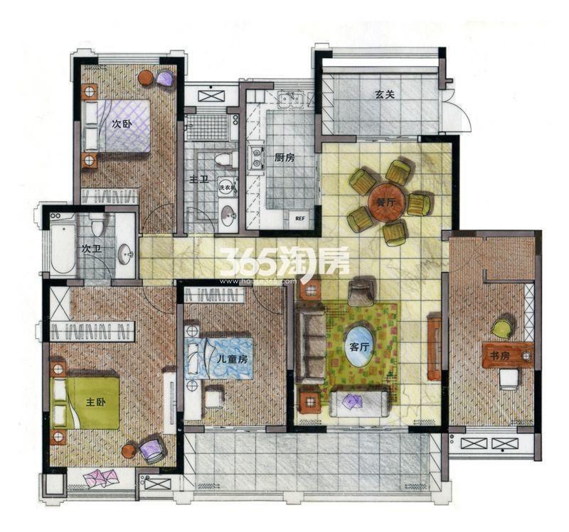 亚东·紫檀D2户型 4室2厅2卫 160㎡