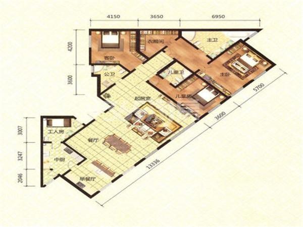 洋房E1户型, 3室3厅3卫, 约259.00平米