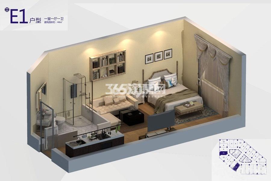 V 公馆E1户型1室1厅1卫建筑面积:约44㎡