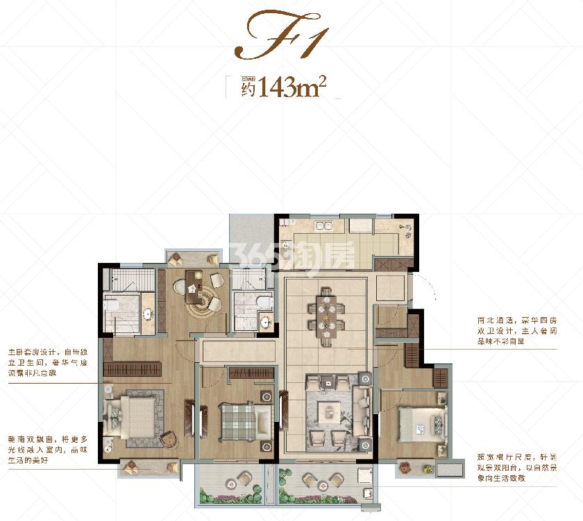 融信世纪东方洋房F1户型图约143平米
