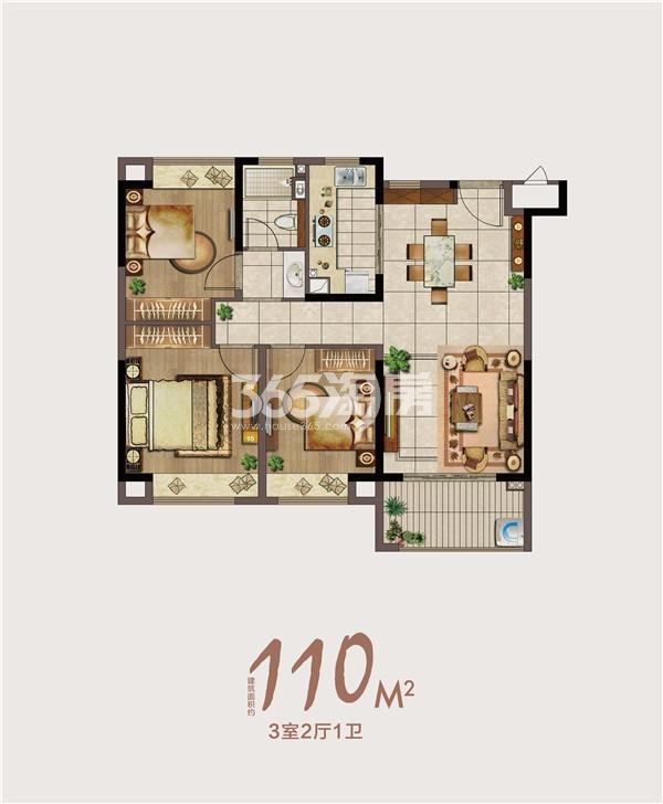 绿地海悦110㎡三室两厅一卫户型