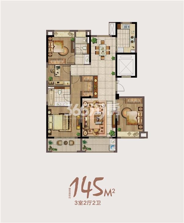 绿地海悦145㎡三室两厅两卫户型