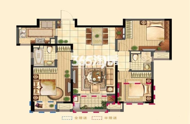 二期1#3#5#6#7#9#10#11#高层标准层A户型 3室2厅2卫1厨