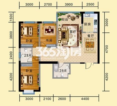 A-5户型 三室两厅两卫一厨 建筑面积134.54㎡
