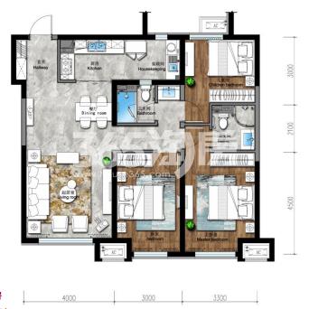 122平 三房两厅两卫